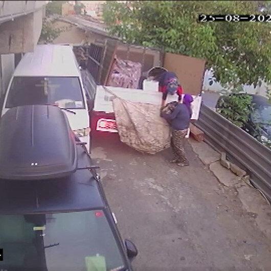 Sarıyerde 250 kiloluk otomobil motorunu çalan hırsızlar kamerada