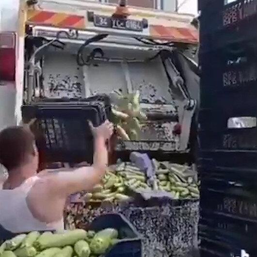 İstanbulda halde kasa kasa kabak çöpe atıldı