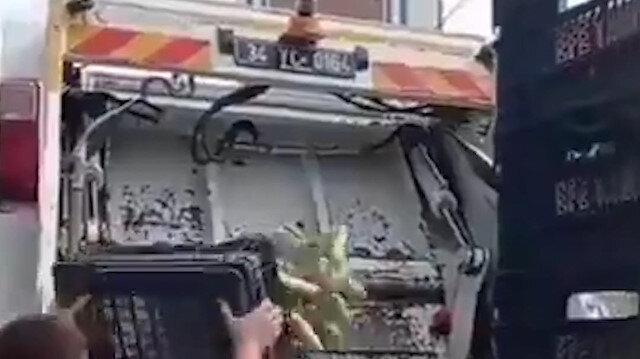 İstanbul'da halde kasa kasa kabak çöpe atıldı