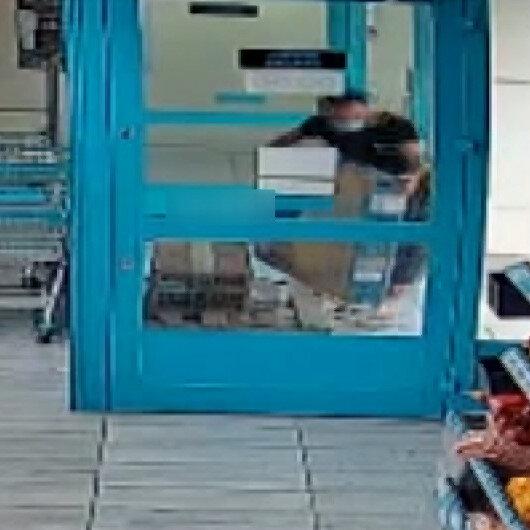 Osmaniyede marketten güpegündüz  TV hırsızlığı kamerada