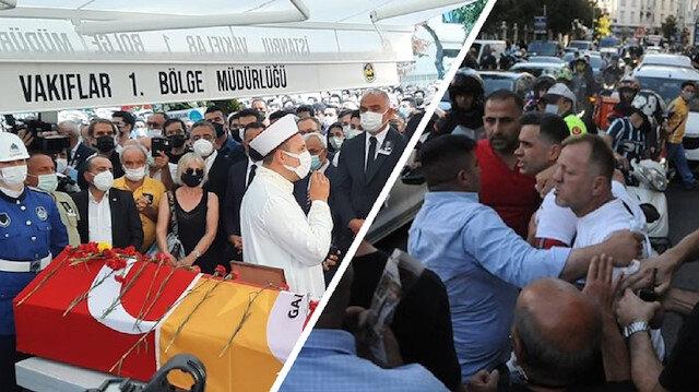 Ferhan Şensoy'un cenazesine büyük saygısızlık: Galatasaray bayrağını görünce slogan atarak kalabalığın üstüne yürüdüler