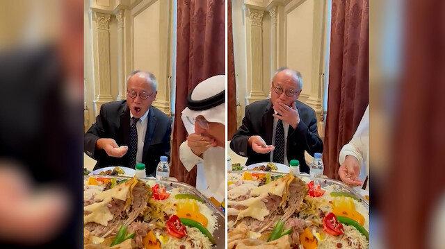 Suudi Arabistan'da vali Japonya Büyükelçisi Fumio'ya eliyle pilav yemeyi öğretti