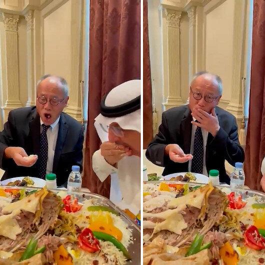 Suudi Arabistan'da vali Japonya Büyükelçisi Fumioya eliyle pilav yemeyi öğretti