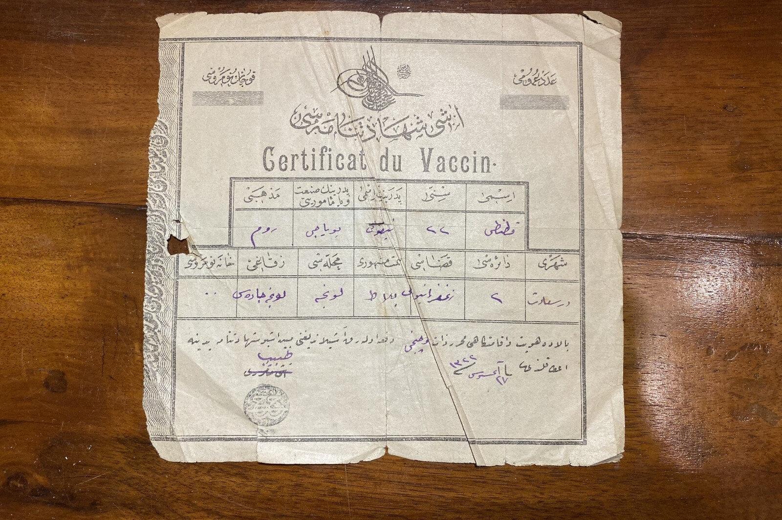 Aşı kartının bir benzerinin 1900'lerde de verildiği ortaya çıktı.