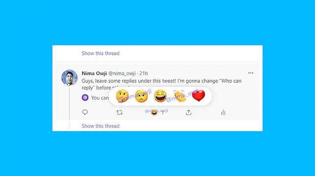 Twitter'ın emojilerle tepki özelliği Türkiye'de testlerine başladı