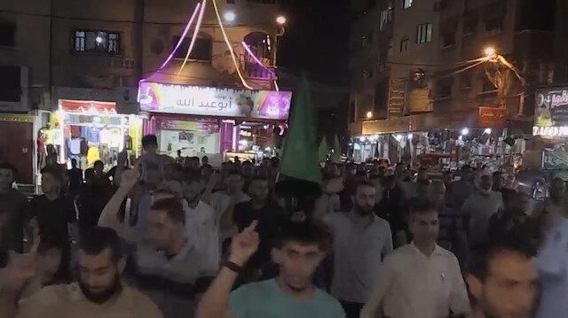 Gazze'de halk Filistinli tutuklulara destek gösterisi düzenledi