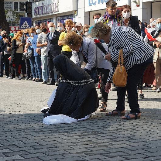 Edremit Belediyesinin Türk kadınını aşağılayan skandal gösterisine tepki: Türk kadınının zincire vuracak adam anasından doğmadı