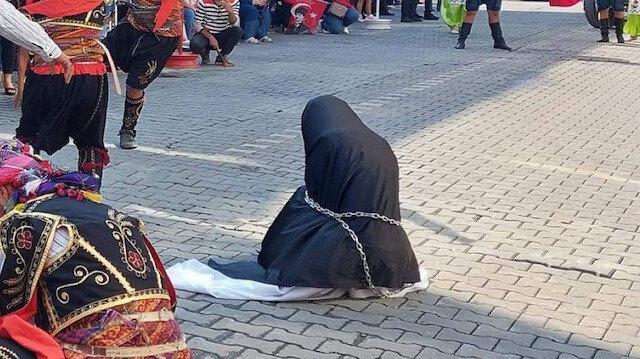 ÇYDD'den zincirli kadın rezaletini savundu: Siyah çarşaf kara günleri hatırlatıyor