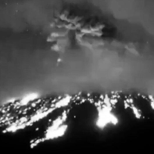 Popocatepetl Yanardağında şiddetli patlama anı