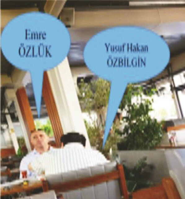 """Emre Özlük ve Yusuf Hakan Özbilgin'in birlikte kahvaltı yaptıkları kafede fısıldaşarak konuştukları, Özlük'ün Özbilgin'e """"Projelerin yüzde 15 ya da yüzde 30'unu versek yeter"""" dediği tespit edildi."""