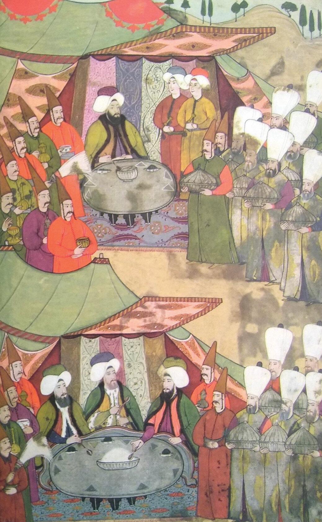 Sadrazam Damat İbrahim Paşa ve diğer üst düzey devlet erkanı kendileri için kurulmuş sofralarda yemek yerken.