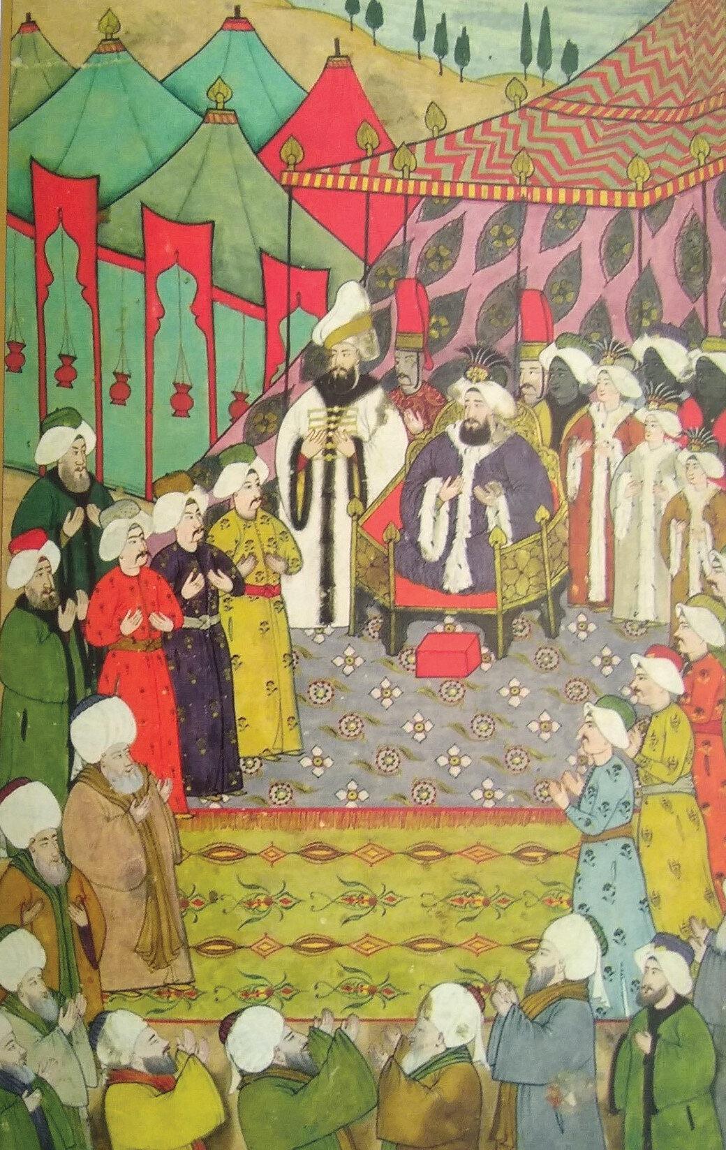 Sultan Ahmed yanında şehzadeleri olduğu halde Selatin camileri şeyhlerini kabul ederken herkes elleri duaya kaldırmış olarak görülüyor.