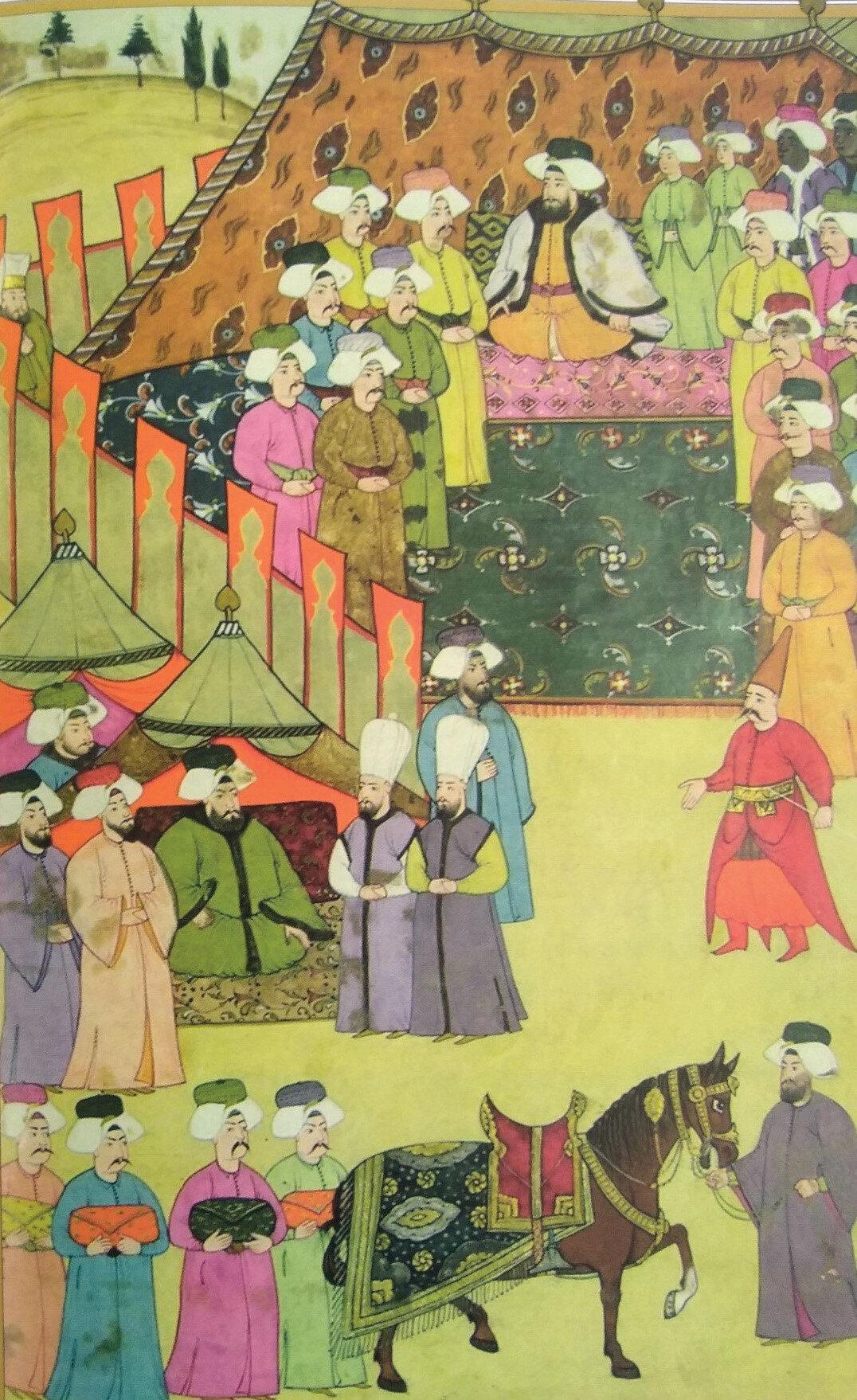 Devlet erkanın hediyeleri Sultan III. Ahmed'e sunulurken.