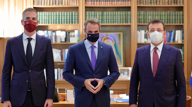 İmamoğlu Atina'da Yunanistan Başbakanı Miçotakis ile görüştü