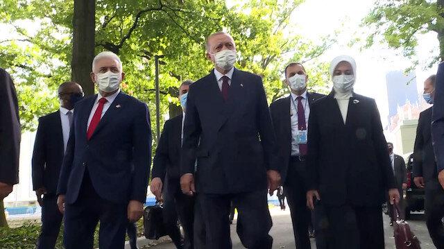 Cumhurbaşkanı Erdoğan'dan BM'de sergilenen Göbeklitepe Dikilitaş replikasına ziyaret