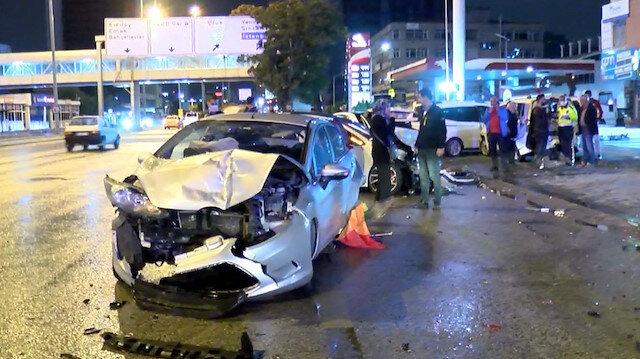 Ankara'da zincirleme kaza: Yedi araç zarar gördü iki kişi yaralandı