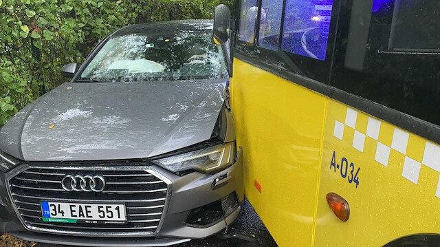 İETT otobüsü virajı alamadı iki otomobile çarptı: Öğrenciler okula yürüyerek gitti