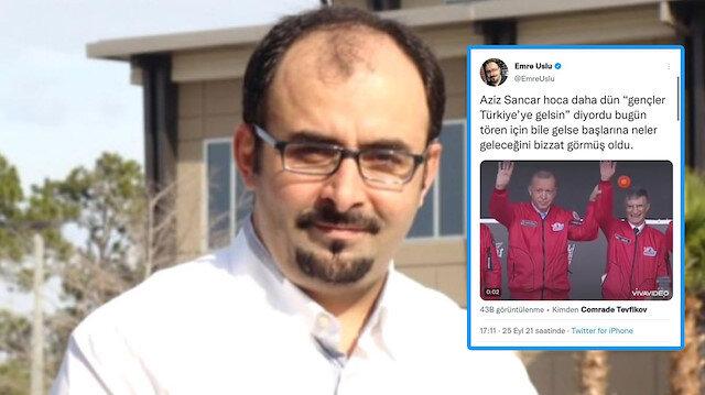 Firari FETÖ'cü Emre Uslu Cumhurbaşkanı Erdoğan ve Aziz Sancar'ın görüntülerini montajlayıp algı operasyonuna soyundu