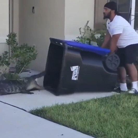 ABDde timsahı çöp kovasıyla yakalayan adam yürekleri ağza getirdi
