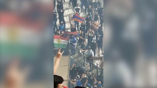 Marsilya-Galatasaray maçındaki provokasyonun videosu ortaya çıktı: Ermenistan ve sözde Kürdistan bayrakları açtılar