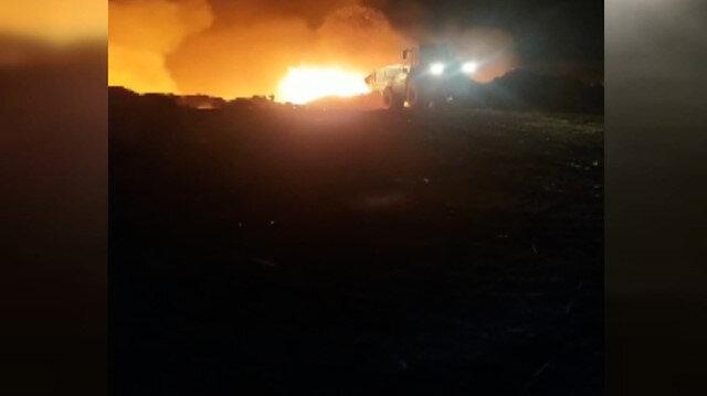 Ankara'da çöplükte patlama sonrası yangın çıktı