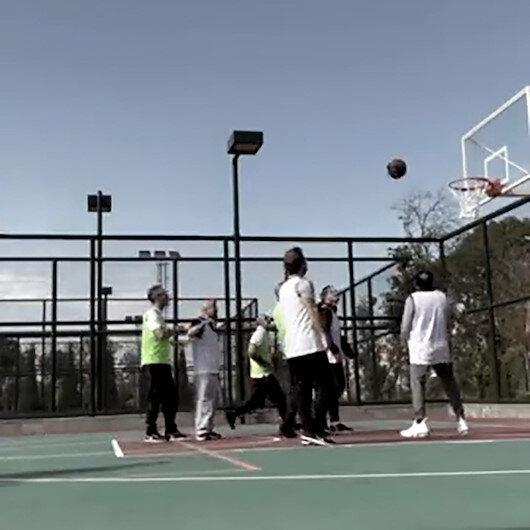 Cumhurbaşkanı Erdoğanın basketbol oynadığı görüntüler