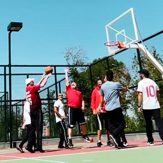 Cumhurbaşkanı Erdoğandan basketbol resitali