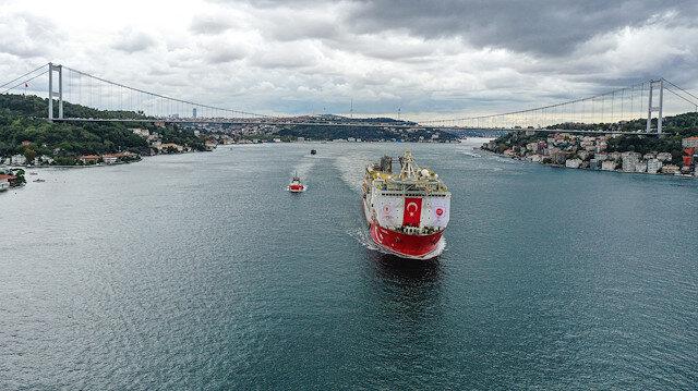 Yavuz sondaj gemisi boğazdan geçerek Karadenize açıldı