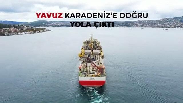 İstanbul Boğazı'ndan geçen Yavuz sondaj gemisi Karadeniz'e doğru yola çıktı