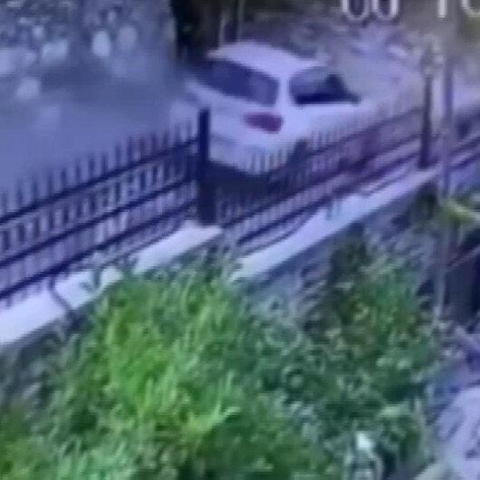 Sarıyerde direksiyon hakimiyetini kaybeden sürücü istinat duvarına çarptı