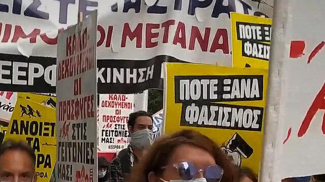 Atina'da Yunanistan'ın göçmen politikası protesto edildi