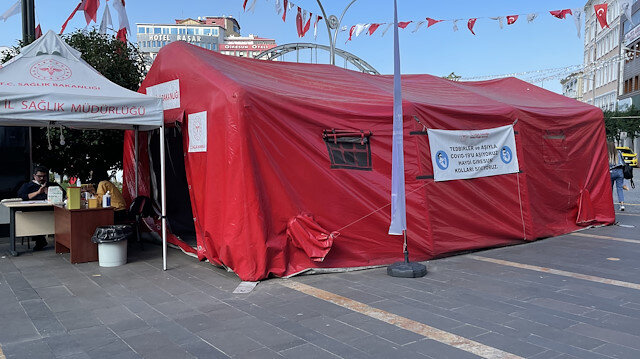 Giresun'da koronavirüs aşı çadırına saldırı
