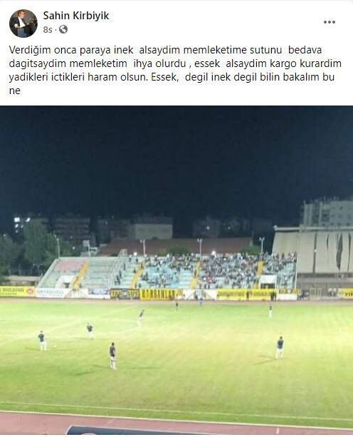 Kulüp başkanı Şahin Kırbıyık'ın Facebook hesabından yaptığı o paylaşım.