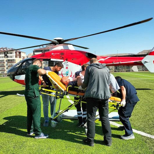 Kalp krizi geçirdi: Hastaneye ambulans helikopterle sevk edildi