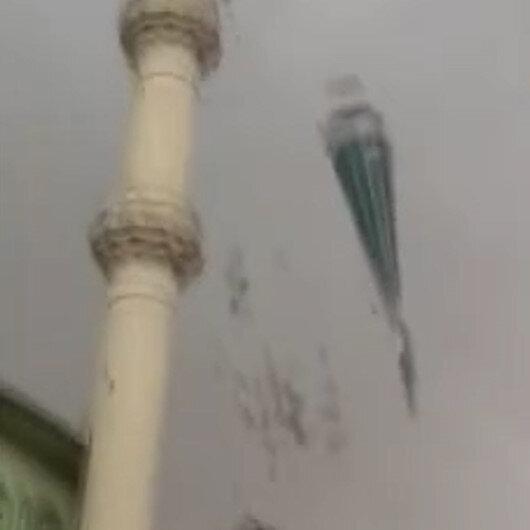 Aydında fırtına minareyi böyle yıktı