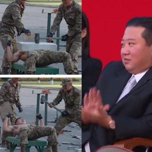 Kuzey Kore lideri Kim Jong-Un kafasıyla beton kıran askerlerini keyifle izledi