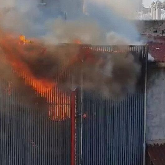 Süleymaniyede iş yerinde korkutan yangın