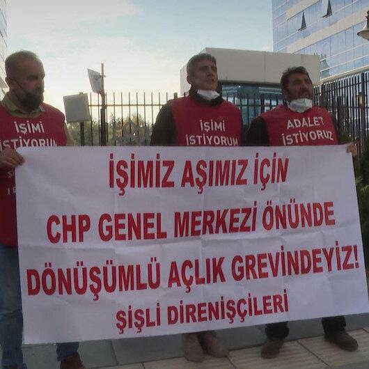Haksız yere işten çıkarıldığını öne süren 3 işçi CHP önünde açlık grevi başlattı