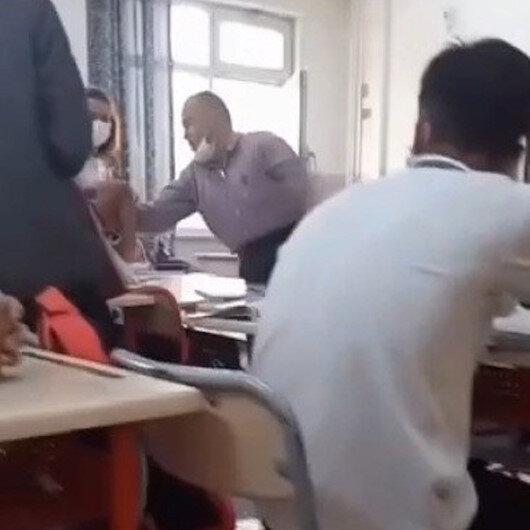 Felsefe öğretmeninden ders ortasında gürültü dayağı kamerada