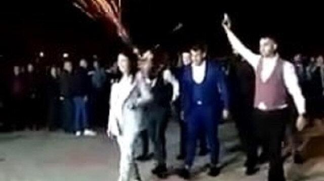 Sakarya'da düğüne Kurtlar Vadisi müziğiyle giriş yapıp havaya ateş eden magandalar kamerada