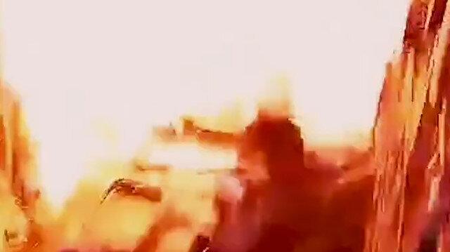 Esed rejiminin pazar yerine düzenlediği saldırının güvenlik kamerası görüntüleri