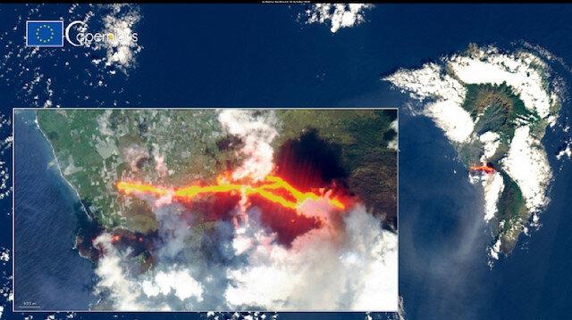 La Palma Adası'ndaki felaket uydudan görüntülendi