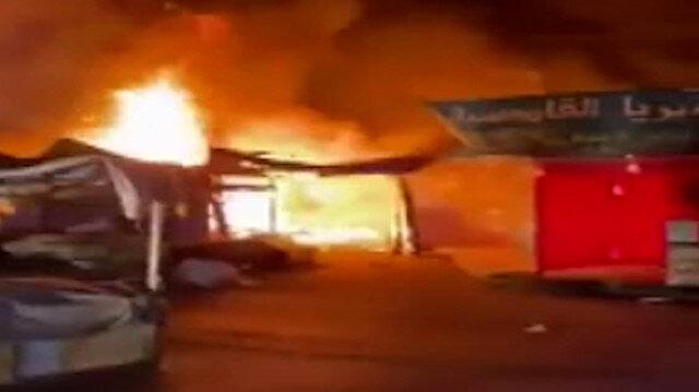 Amman'ın en büyük çarşısında korkutan yangın