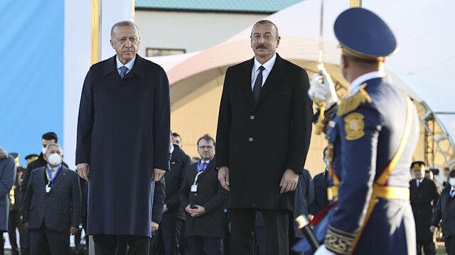Cumhurbaşkanı Erdoğan'a Azerbaycan Birinci Ağalı köyünde karşılama töreni
