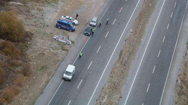 Konya'da helikopter destekli trafik denetimi