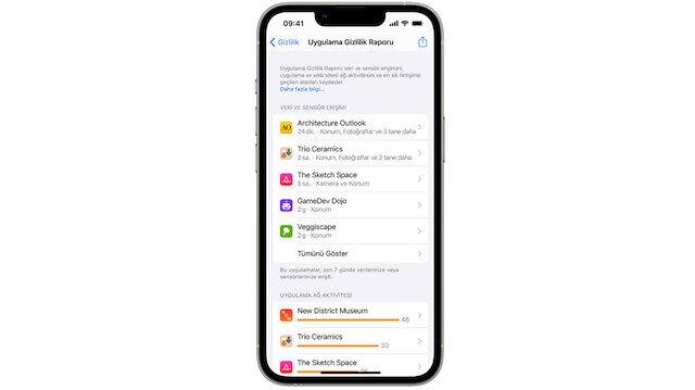 Apple Uygulama Gizlilik Raporu nasıl görülür?