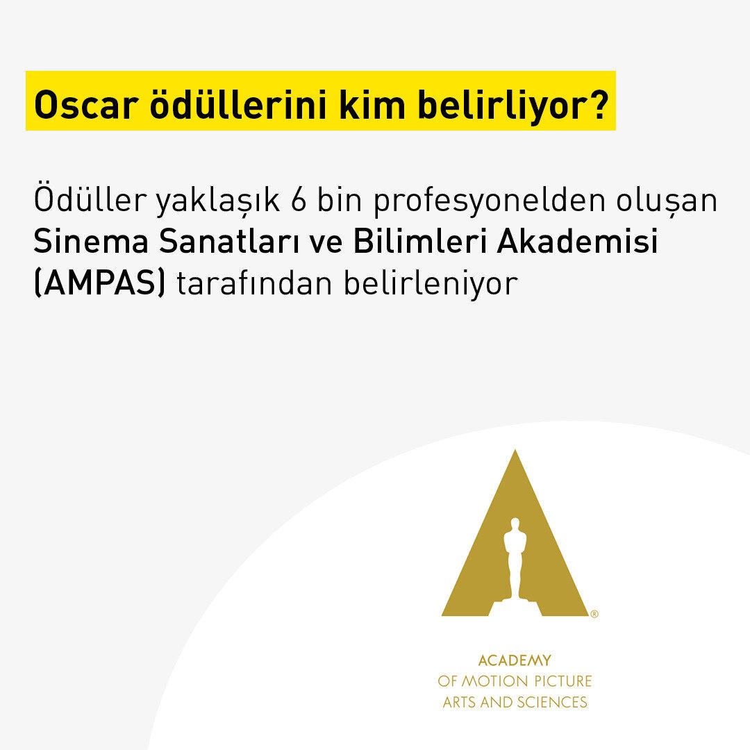 Ödüller yaklaşık 6 bin profesyonelden oluşan Sinema Sanatları ve Bilimleri Akademisi (AMPAS) tarafından belirleniyor