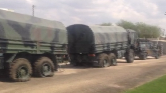 Police barricade against missile ramps