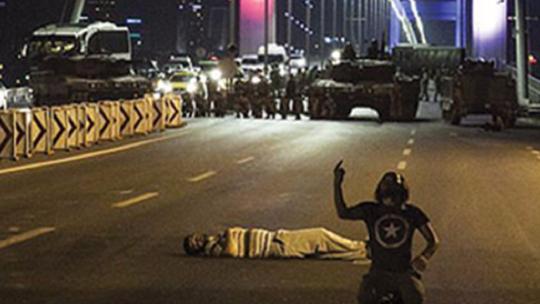 Putschists raked the people with gunfire on The Bosporus Bridge