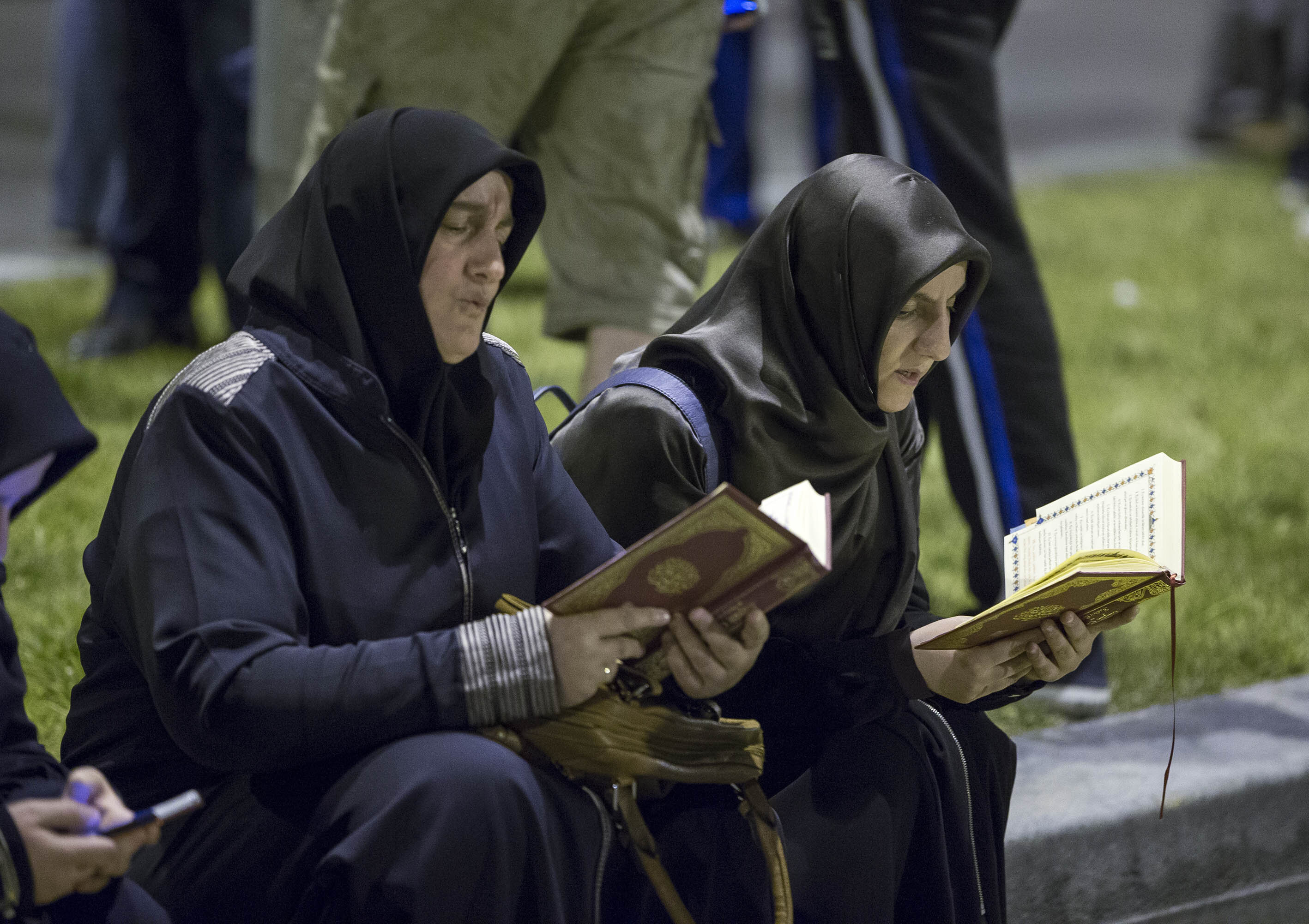 Civilians recited the Quran in front of the Presidential Palace complex.